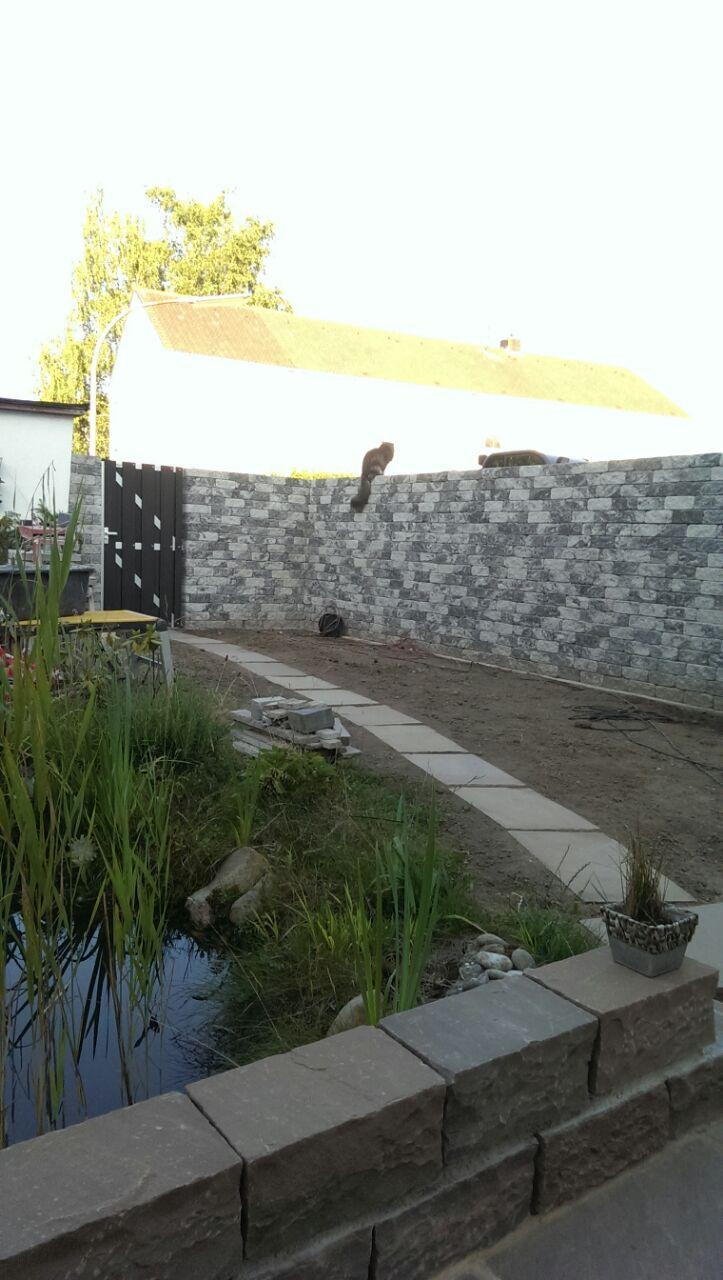 Mauer mit neuer Gartengestaltung